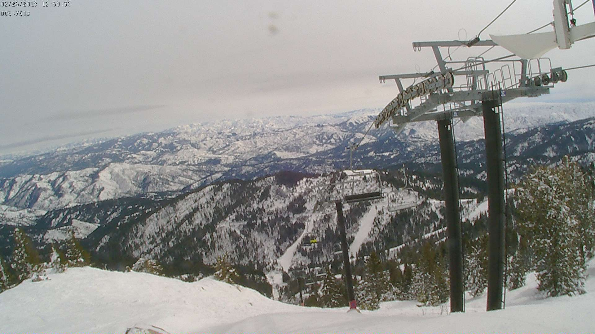 This is a dual lens camera mountain on top of Simplot lodge. Points at the coaster/Deer Point